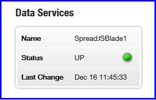 Liberator status page showing SpreadJSBlade data service