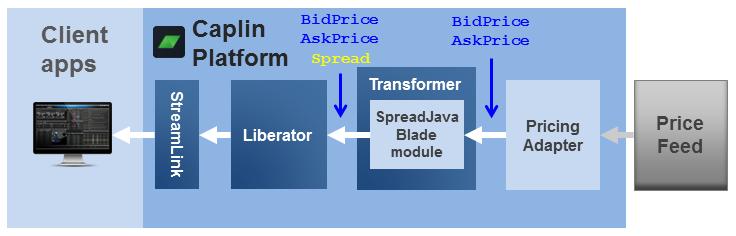 Diagram showing the SpreadJavaBlade module in Transformer