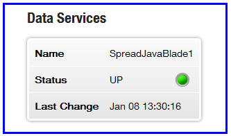 Liberator status page showing SpreadJavaBlade data service