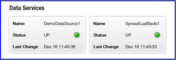 Liberator status page showing SpreadLuaBlade data service
