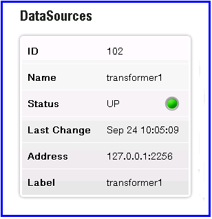 Liberator status page extract showing Transformer UP (green) status