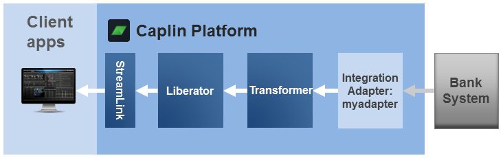 Diagram showing an Integration Adapter connected to a Transformer which is connected to a Liberator