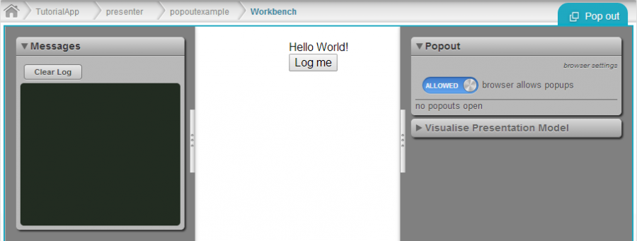 screen capture of workbench with pop-out tool